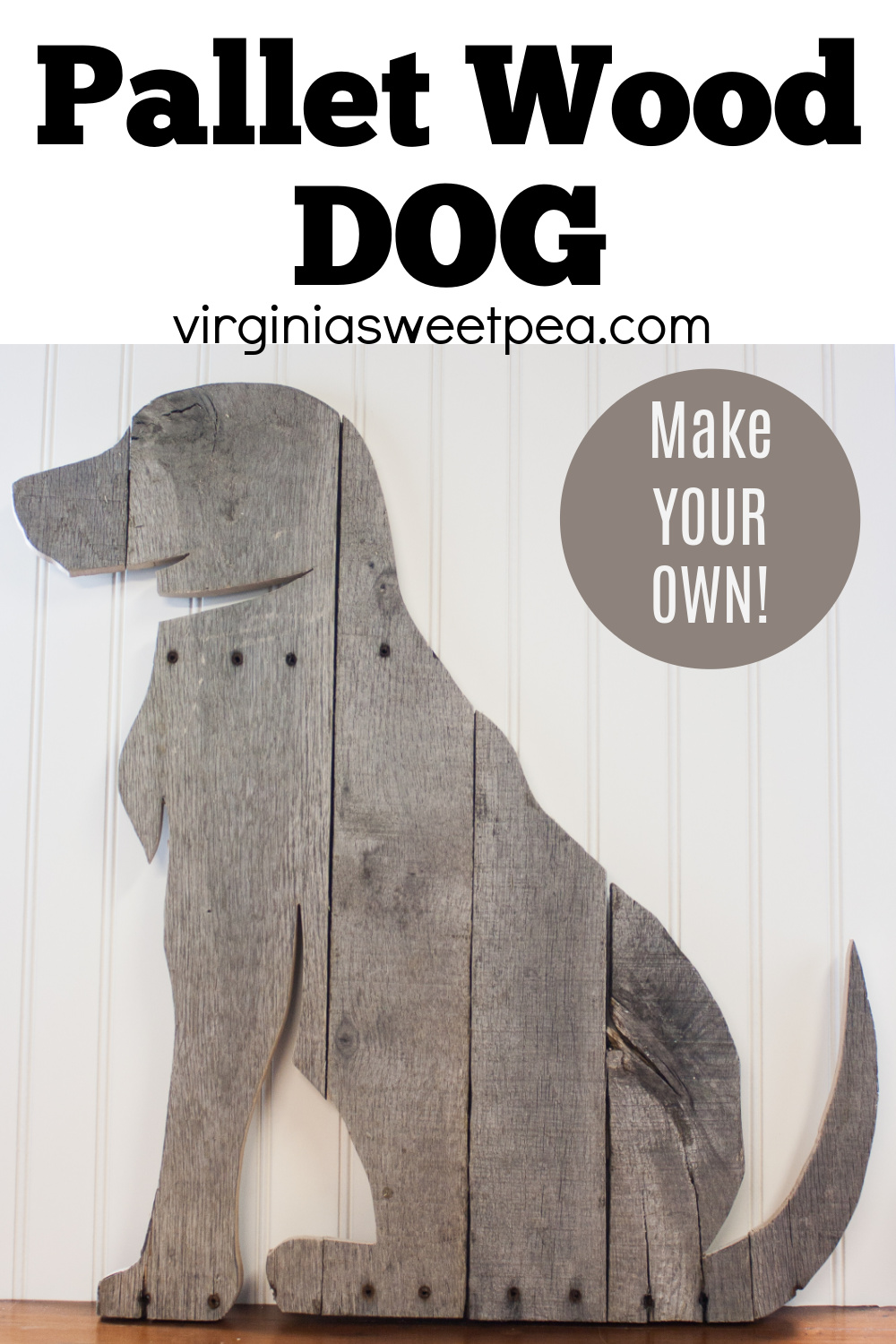 DIY Pallet Wood Dog - Learn how to make a silhouette of your dog using pallet wood.  #palletwood #palletwoodproject #dogsilhouette #palletwooddog via @spaula