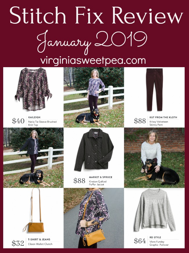 Stitch Fix Review for January 2019 - See winter fashions including a top, sweater, velveteen skinny pants, a purse, and a coat. #stitchfix #2019stitchfix #stitchfixwinter #winterfashion