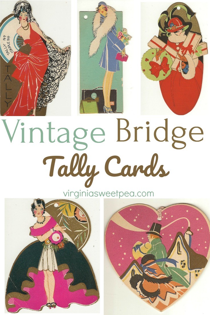 Vintage Bridge Tally Cards - See a collection of bridge tally cards used post WWI through the 1930's that feature Art Deco designs including beautiful ladies and florals.  #vintage #artdeco #bridge #bridgetallycard #vintagebridgetally via @spaula