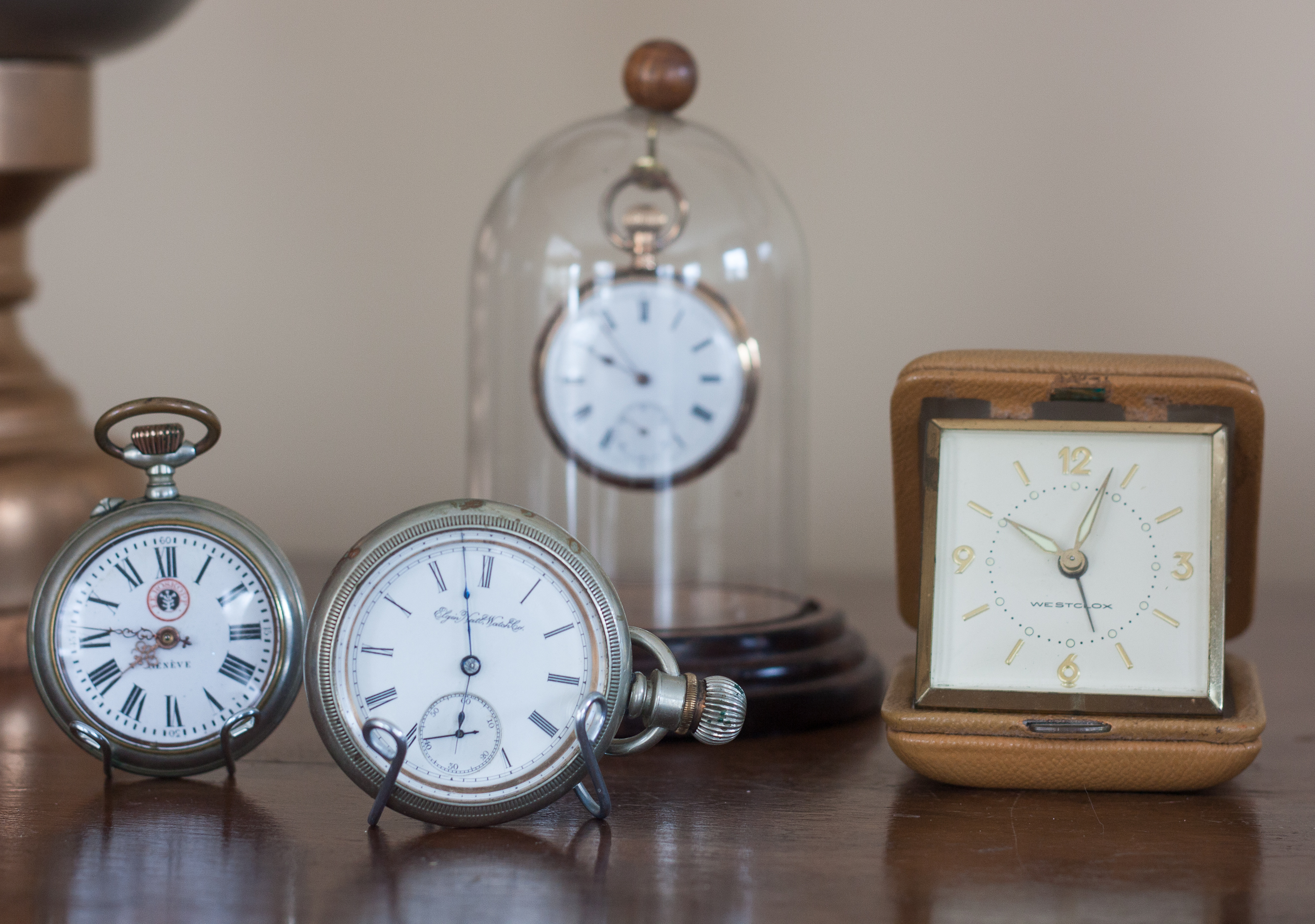 Antique and Vintage Pocket Watches and a Travel Alarm Clock #vintage #vintagepocketwatch #vintageclock