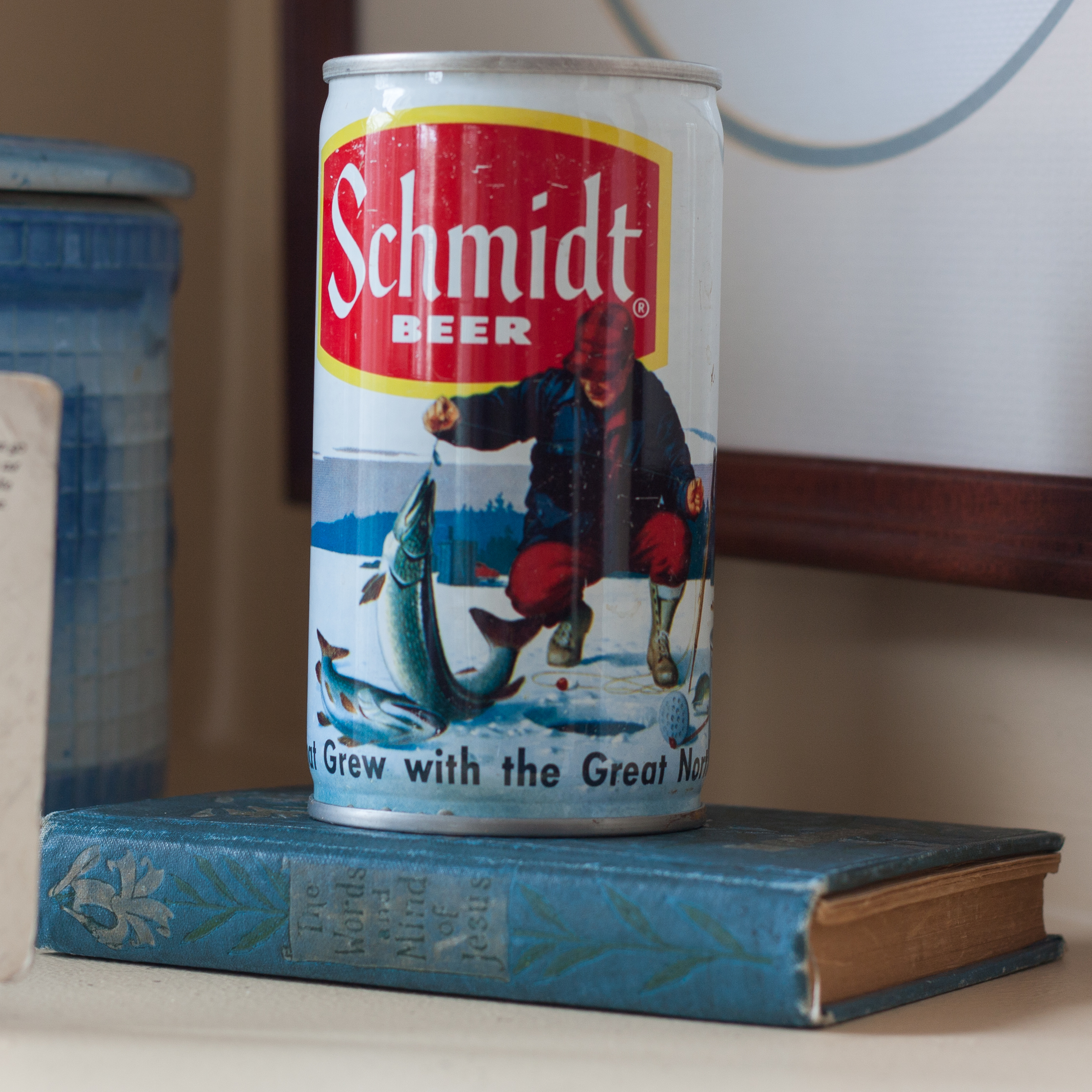 "Vintage Schmidt Beer Can with a 1926 ""The Words of Jesus"" book. #vintage #vintagebeercan #vintagethewordsofjesus"