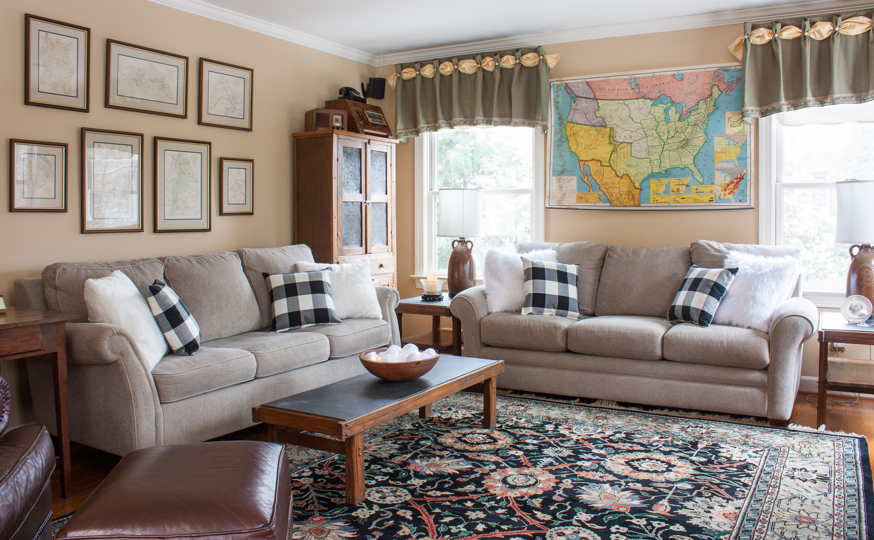 A family room is cozily decorated for winter.
