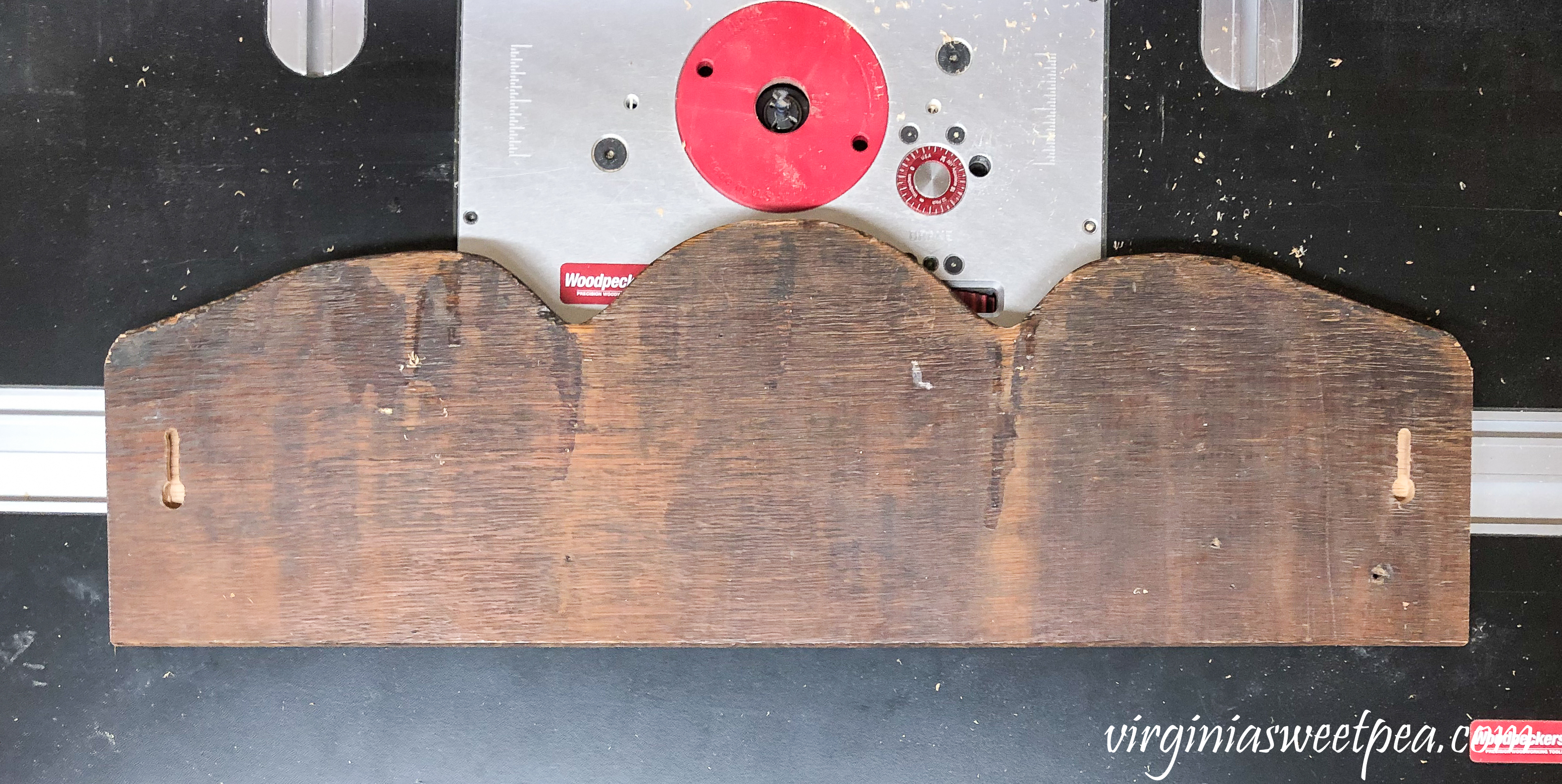 How to Make a DIY Upcycled Wood Jewelry Organizer - Use keyholes to hang the jewelry organizer. #diyjewelryorganizer #diynecklaceorganizer #upcycledproject