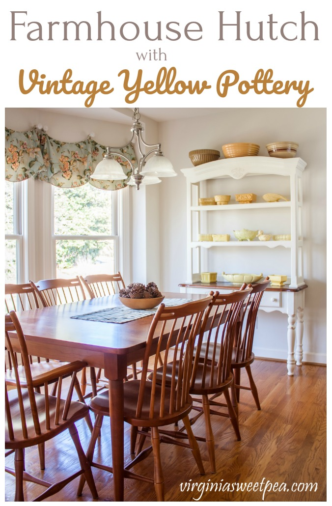 This farmhouse style hutch is displaying a collection of vintage yellow pottery. via @spaula
