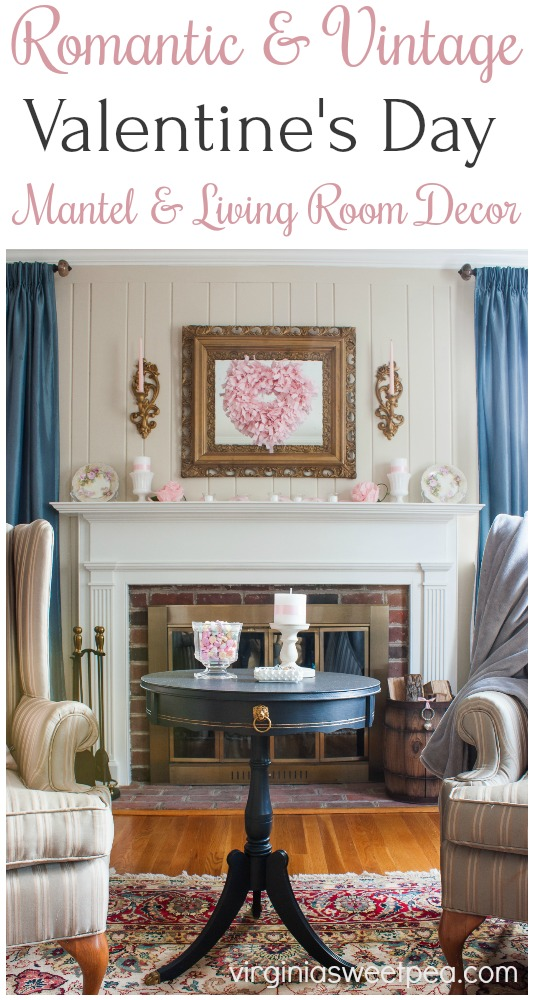 Romantic and Vintage Valentine's Day Mantel and Living Room Decor - Get ideas for decorating for Valentine's Day using vintage. #valentinesday #valentinesdaydecor #romanticdecor