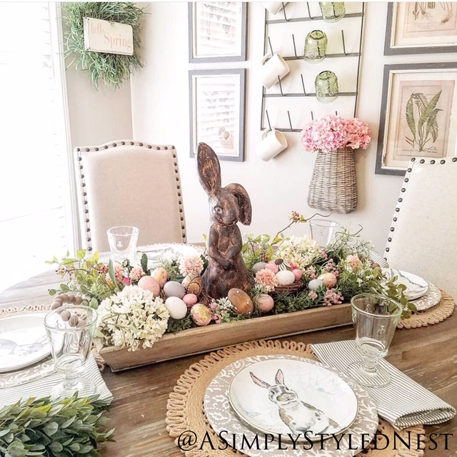 A Simply Styled Nest Easter Centerpiece