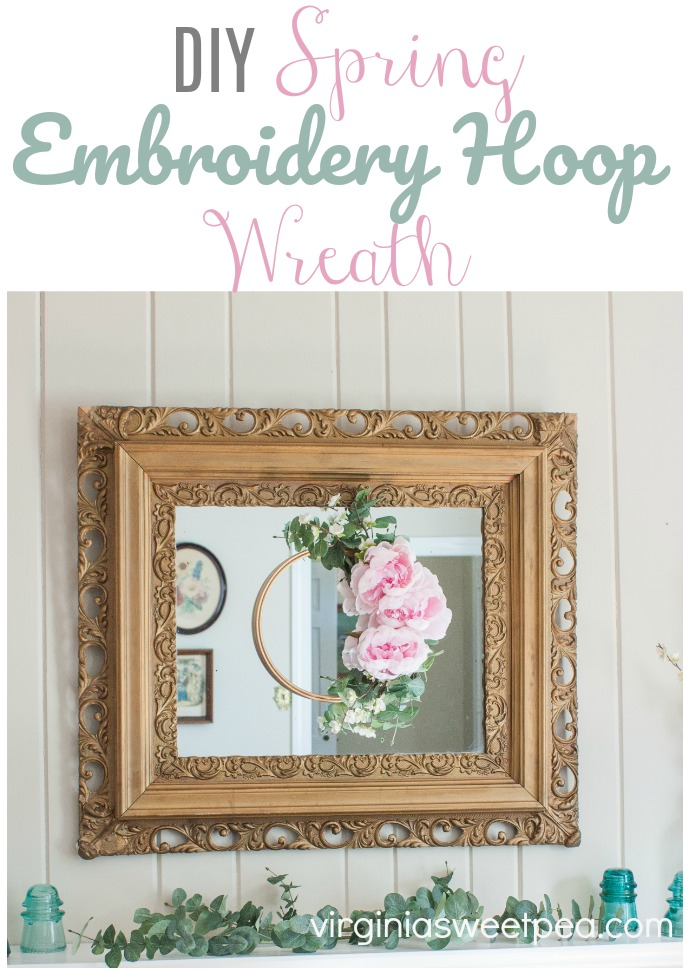 DIY Spring Embroidery Hoop Wreath - Learn how to make a spring wreath using florals and an embroidery hoop. #wreath #springwreath #wreathtutorial #springcraft