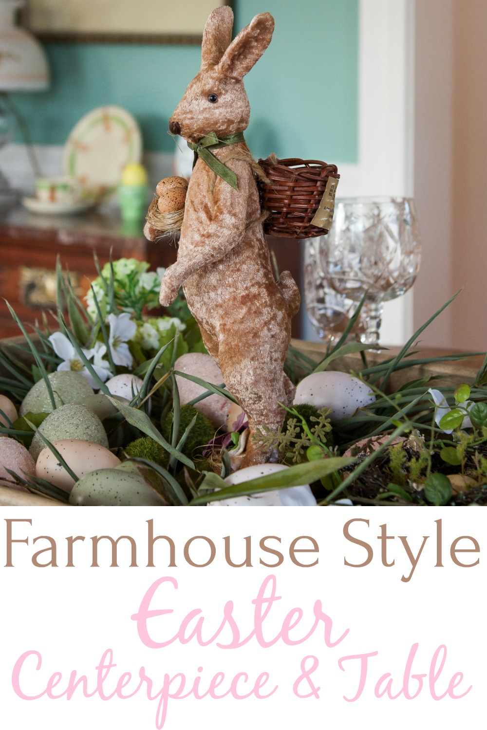 Farmhouse Style Easter Centerpiece and Table - Learn how to create a farmhouse style Easter centerpiece for your Easter table and get ideas for setting the table for Easter.  #easter #eastercenterpiece #eastertablescape #farmhouse #farmhousecenterpiece #farmhousetable  via @spaula