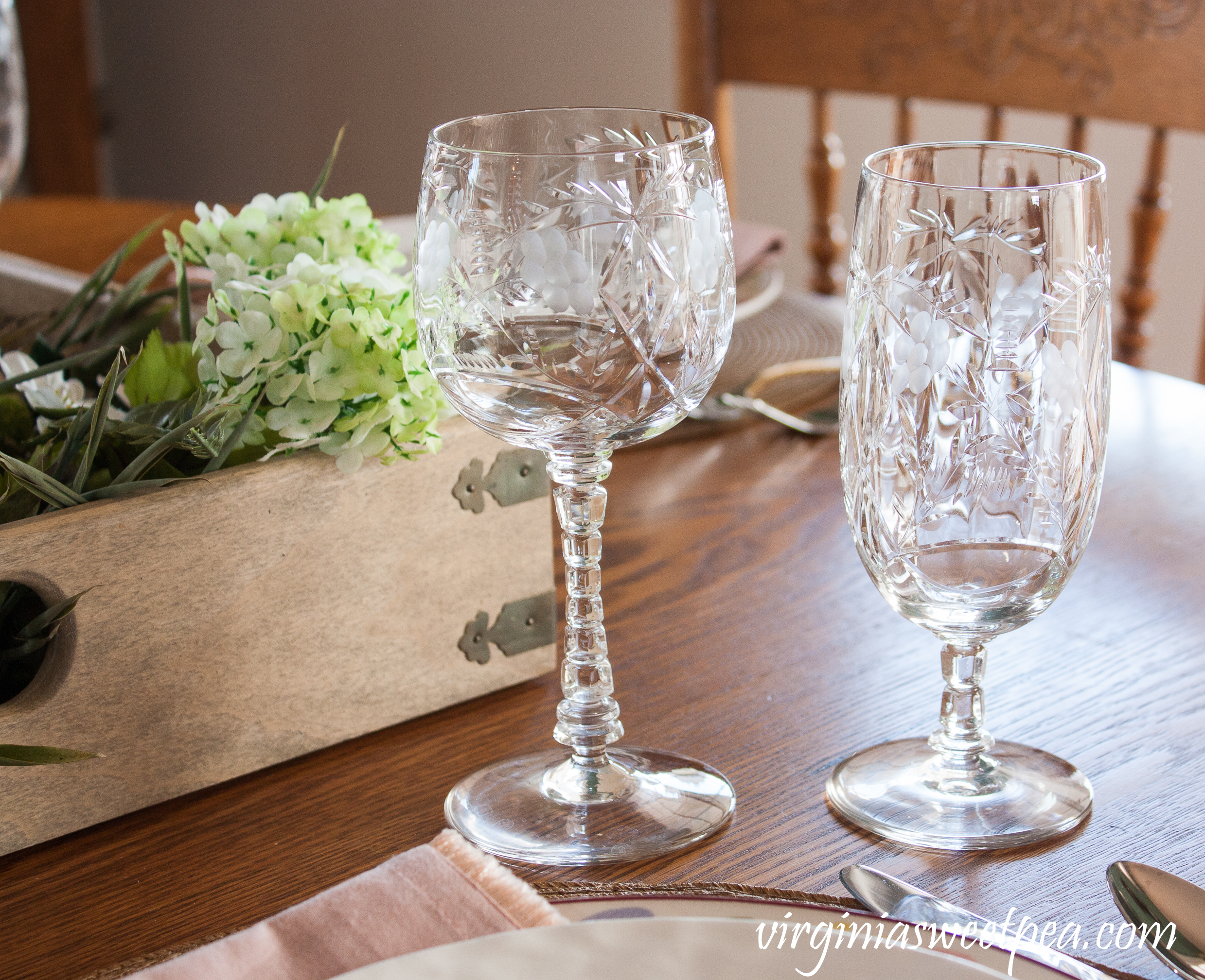 Antique Crystal used on an Easter Tablescape