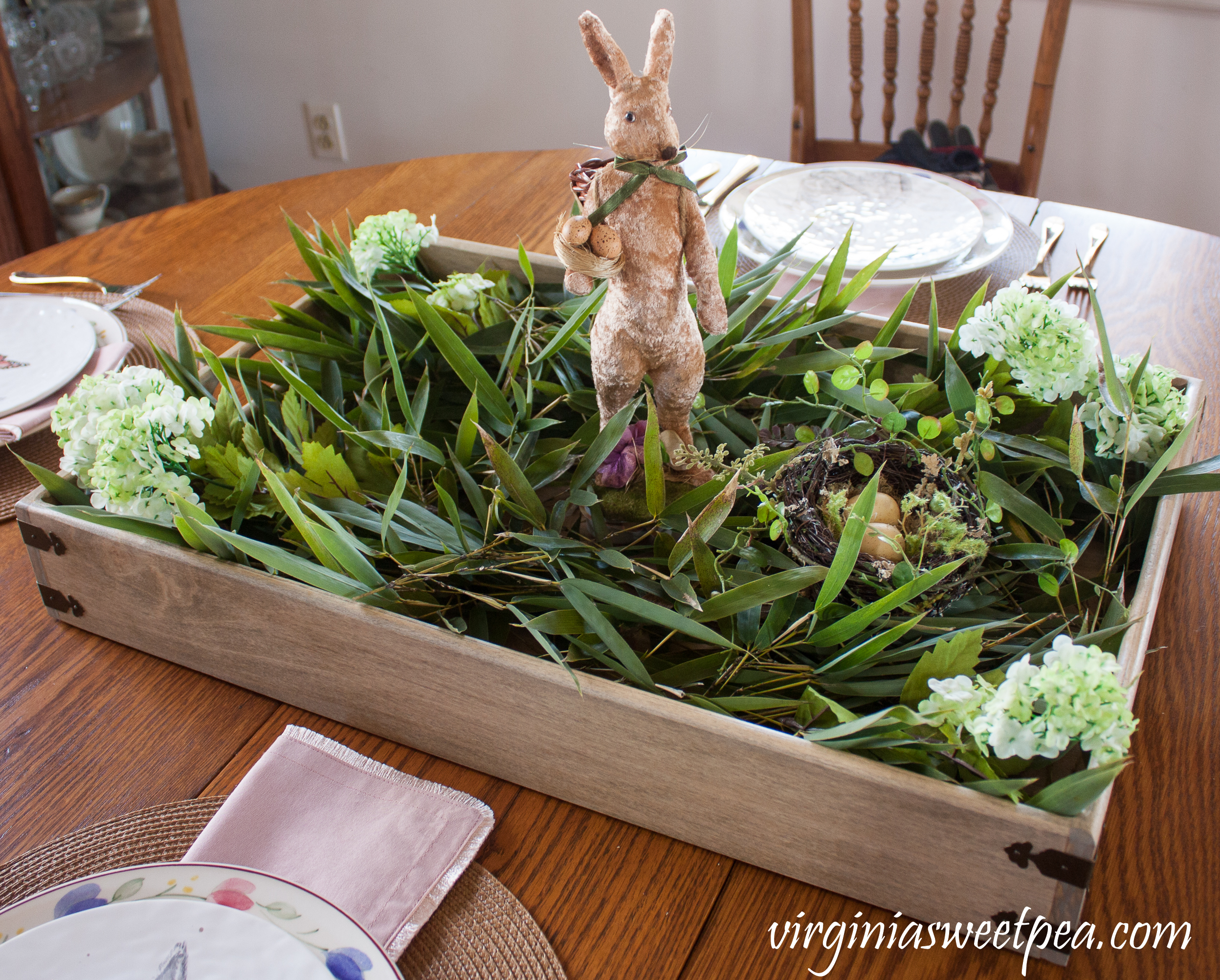 Step-by-step tutorial for making a farmhouse style Easter centerpiece