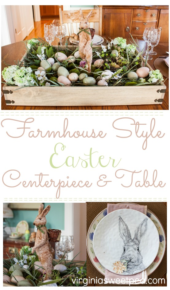FFarmhouse Style Easter Centerpiece and Table - Learn how to create a farmhouse style Easter centerpiece for your Easter table and get ideas for setting the table for Easter. #easter #eastercenterpiece #eastertablescape #farmhouse #farmhousecenterpiece #farmhousetable #eastertable