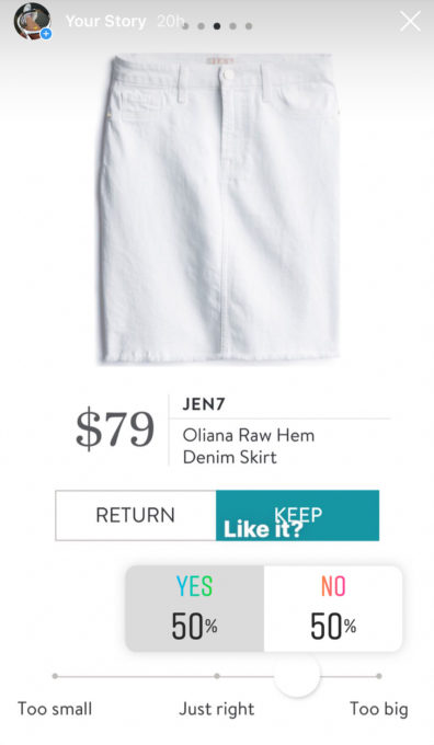 Instagram opinion of a Stitch Fix Jen7 Oliana Raw Hem Denim Skirt