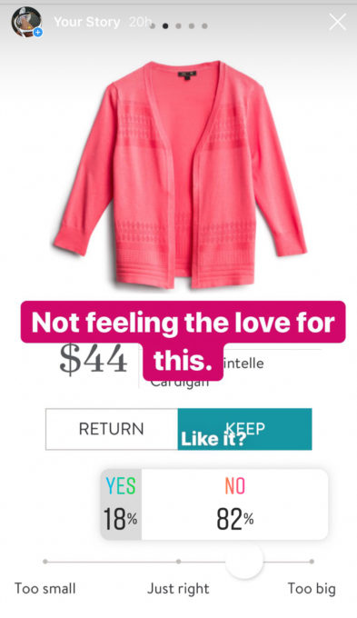 Instagram opinion of a Stitch Fix Lety & Me Victoria Pointelle Cardigan