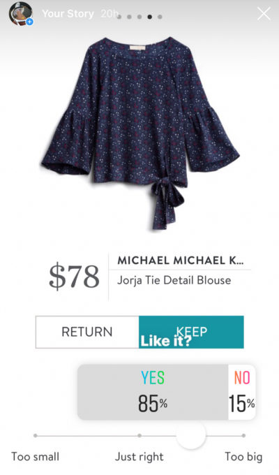 Instagram opinion of a Stitch Fix Michael Kors Jorja Tie Detail Blouse