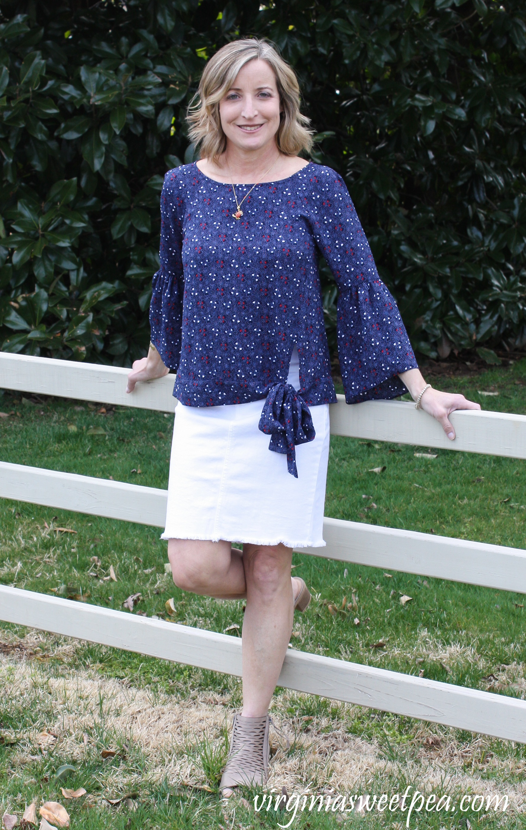 Stitch Fix Review for April 2019 - Michael Kors Jorja Tie Detail Blouse with Jen7 Oliana Raw Hem Denim Skirt #stitchfix #stitchfixreview #stitchfixspring #springstitchfix