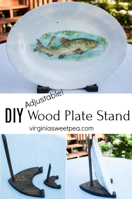 Learn how to make a DIY wood plate stand to use to display plates, platters, or art. The stand is adjustable to accommodate different sizes of dishes or art. Follow the step-by-step tutorial to make your own. #woodworking #platestand #displaystand #wooddisplaystand
