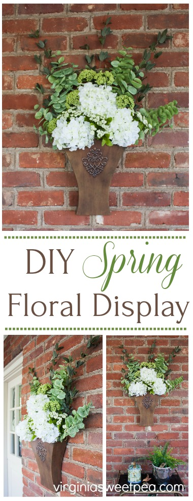 DIY Spring Floral Display - Learn how to make a floral display like this to display in your home. This would look great hanging on a door or on a porch wall. #springdecor #springfloralarrangement #springwreath #springdecorating via @spaula