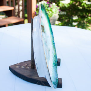 Make a wood plate stand to use to display a plate or art.