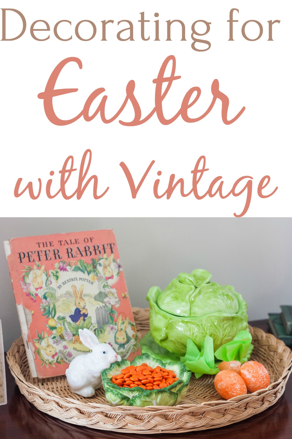 Decorating for Easter with Vintage - See a home decorated for Easter with traditional Easter decor combined with vintage pieces. Get ideas for Easter decor from this post plus from 30+ home decor bloggers. #easter #easterdecor #easterdecorations #vintage #vintagedecor via @spaula