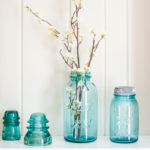 Spring Mantel with Vintage Ball Jars and Baskets