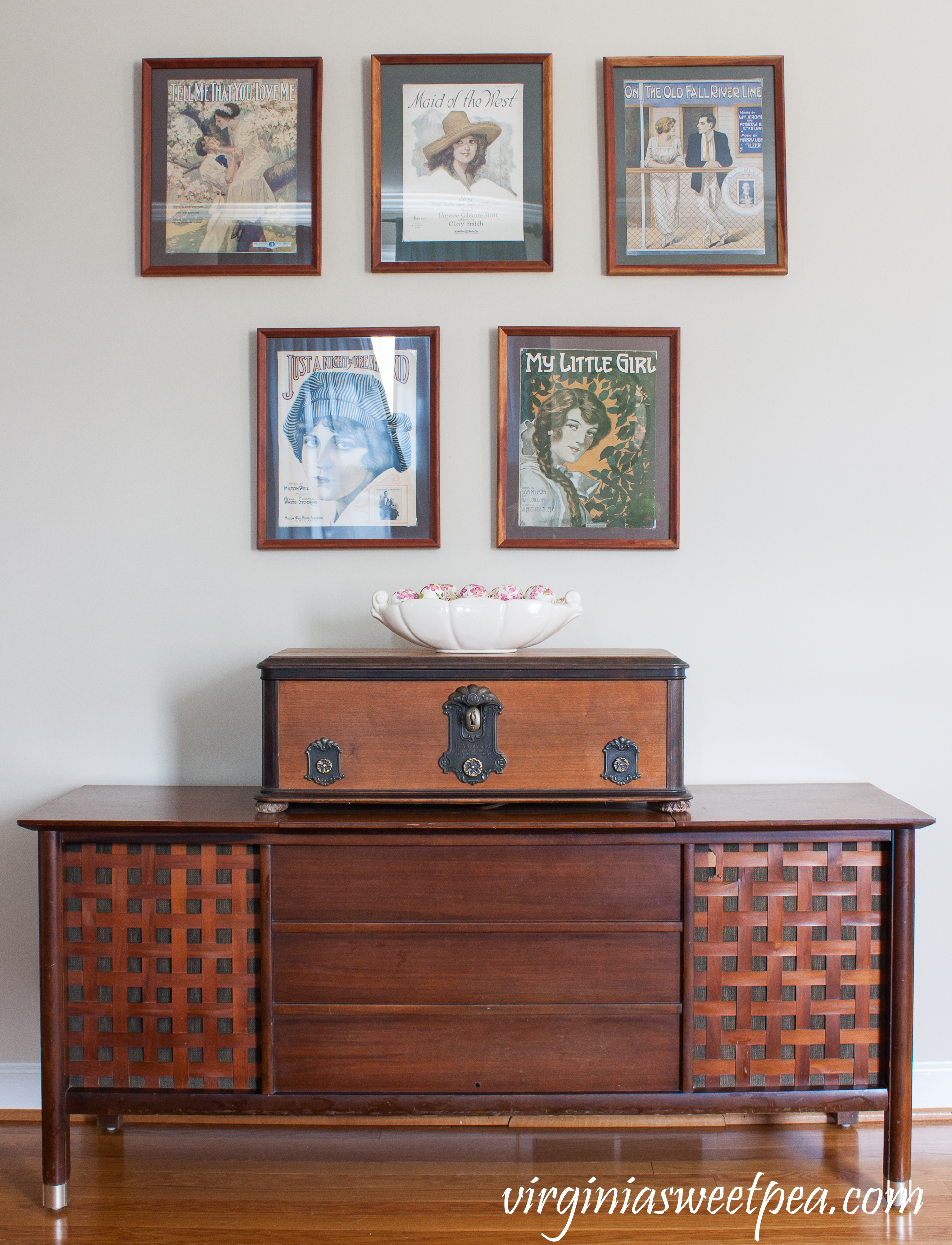 1960's Montgomery Ward Stereo Console with a box made from an old radio and WWI era sheet music