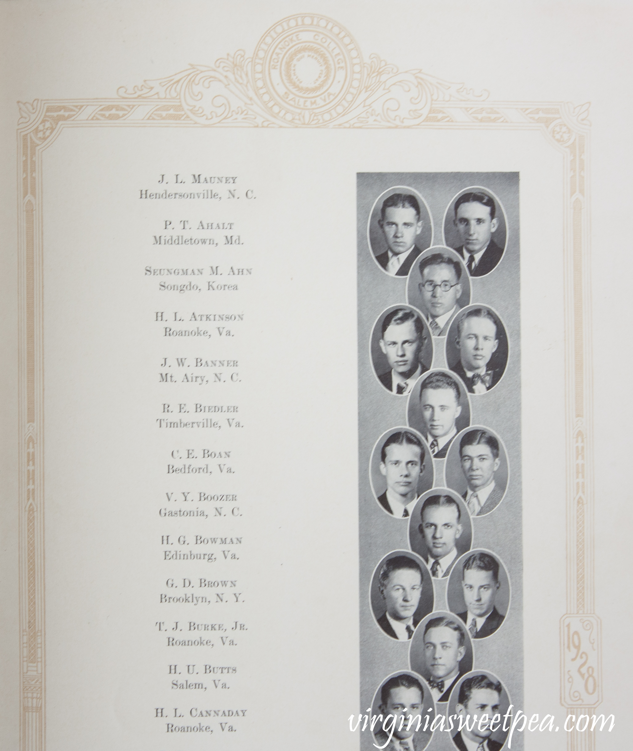 Paul E. Ahalt in 1928 Roanoke College Yearbook