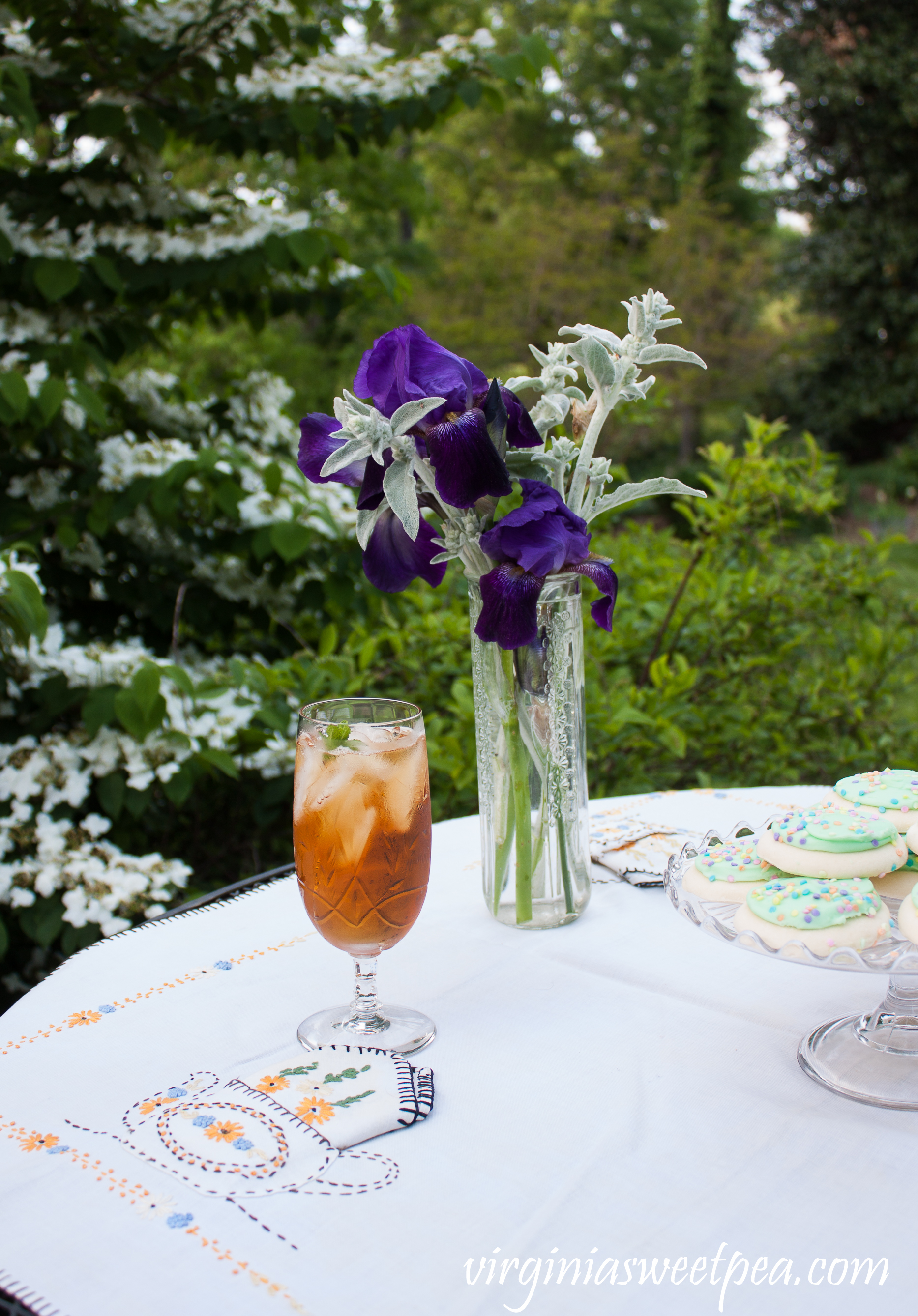 Spring Tea Party with Vintage - Iris and Lamb's Ear in a vintage vase.