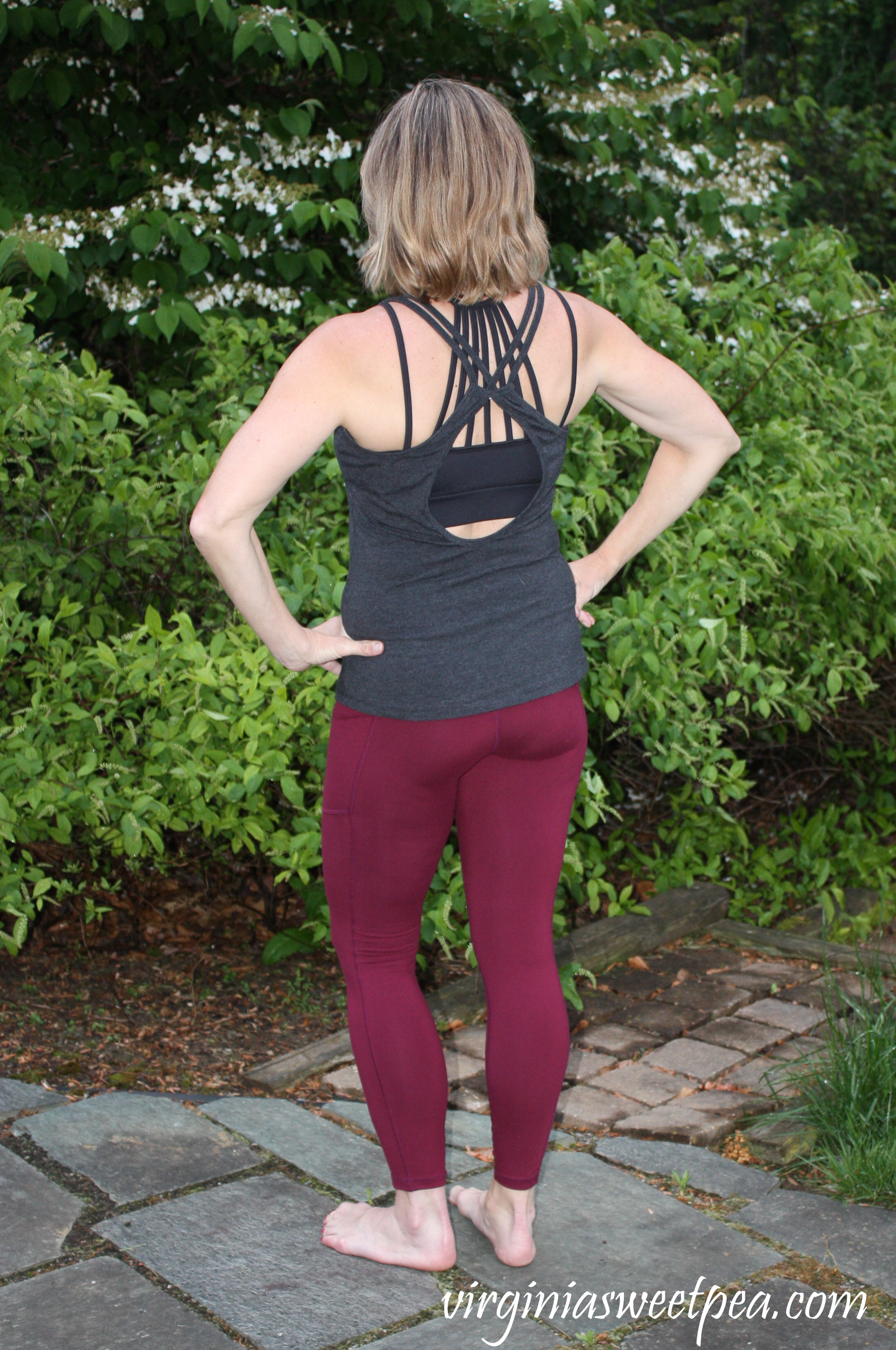 Fashom Review-RAE Mode butter Soft Yoga Stitch Leggings with Constantly Varied Gear Open Back Tank and Constantly Varied Gear Black Sports Bra