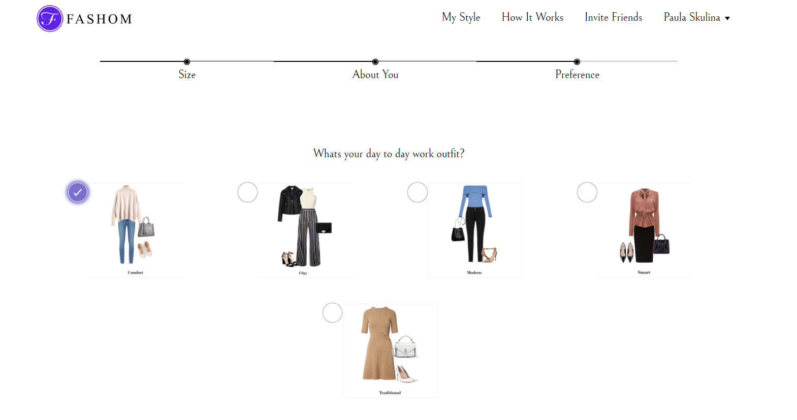 Filling out the style profile for Fashom styling service.