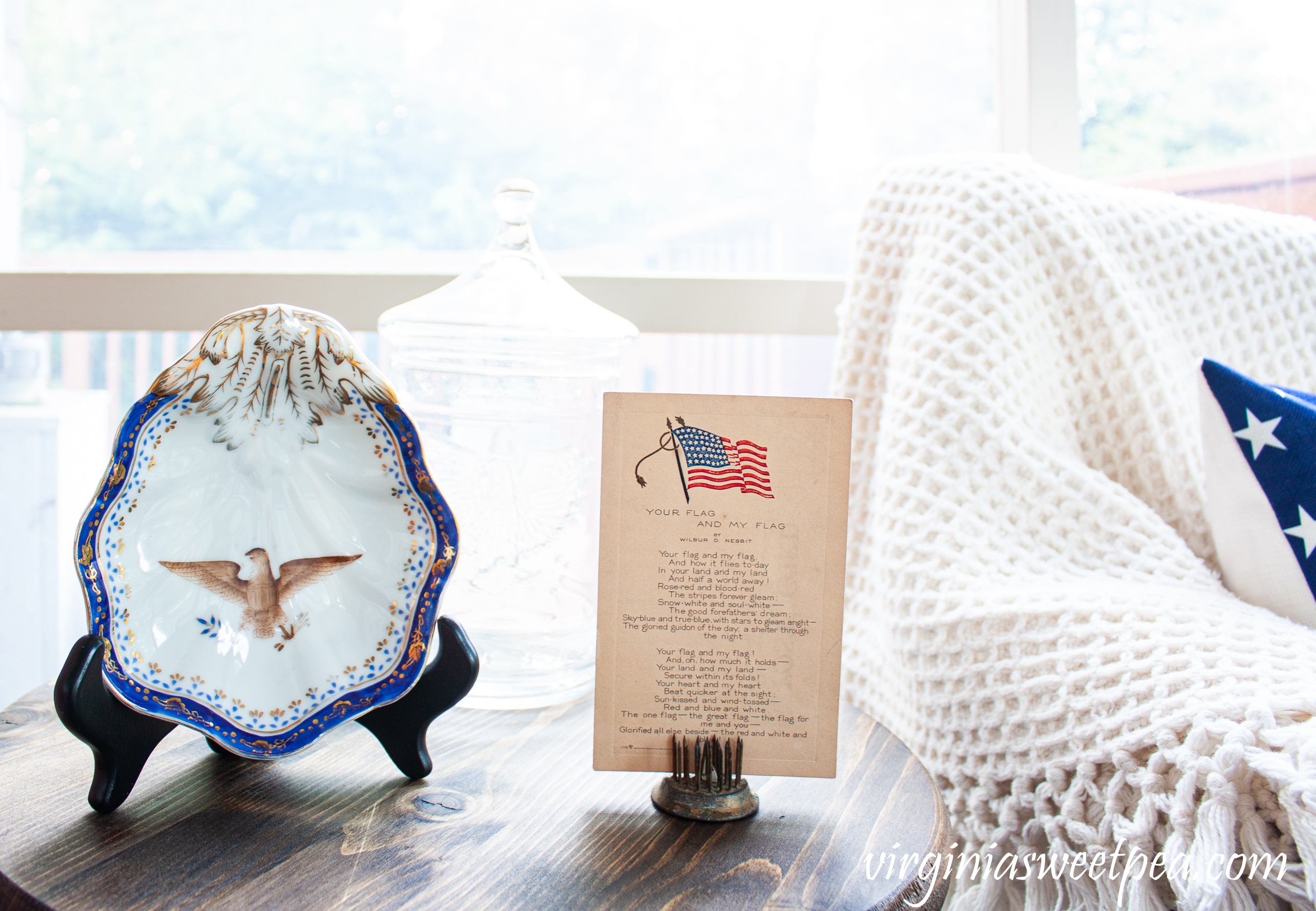 Antique bowl with an eagle and a Wilbur D. Nesbit Your Flag and My Flag postcard
