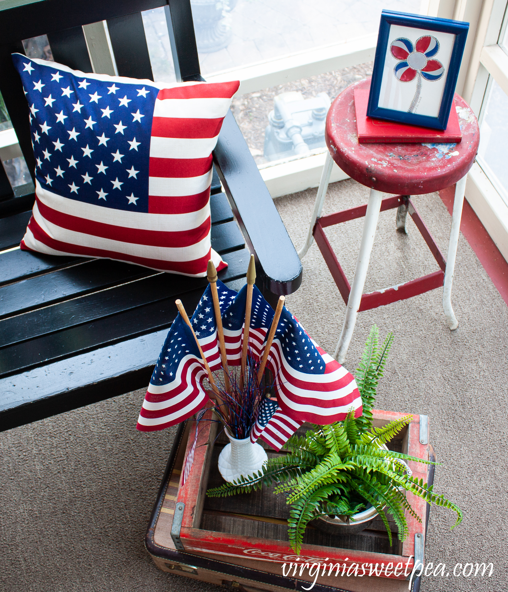 Patriotic decorations on a porch