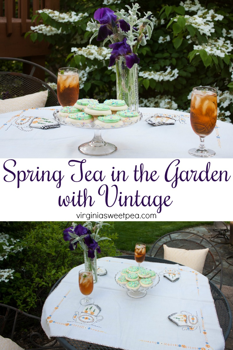 Spring Tea in the Garden with Vintage - A spring tea party is extra special with vintage. Enjoy this party and get ideas for your own spring tea party from 25+ home decor bloggers. #vintage #vintagedecor #vintagetablecloth #vintagecrystal #springinthegarden