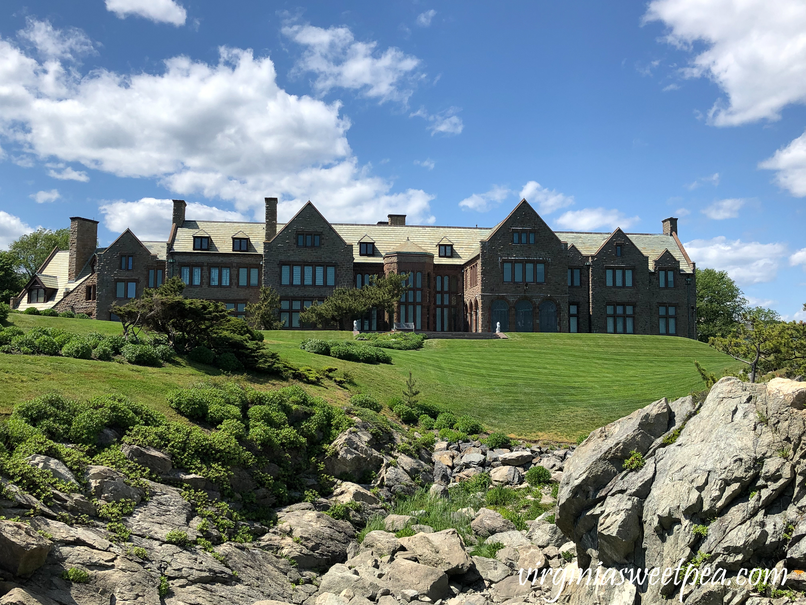 View of Rough Point, the oceanside estate of Doris Duke, in Newport, RI
