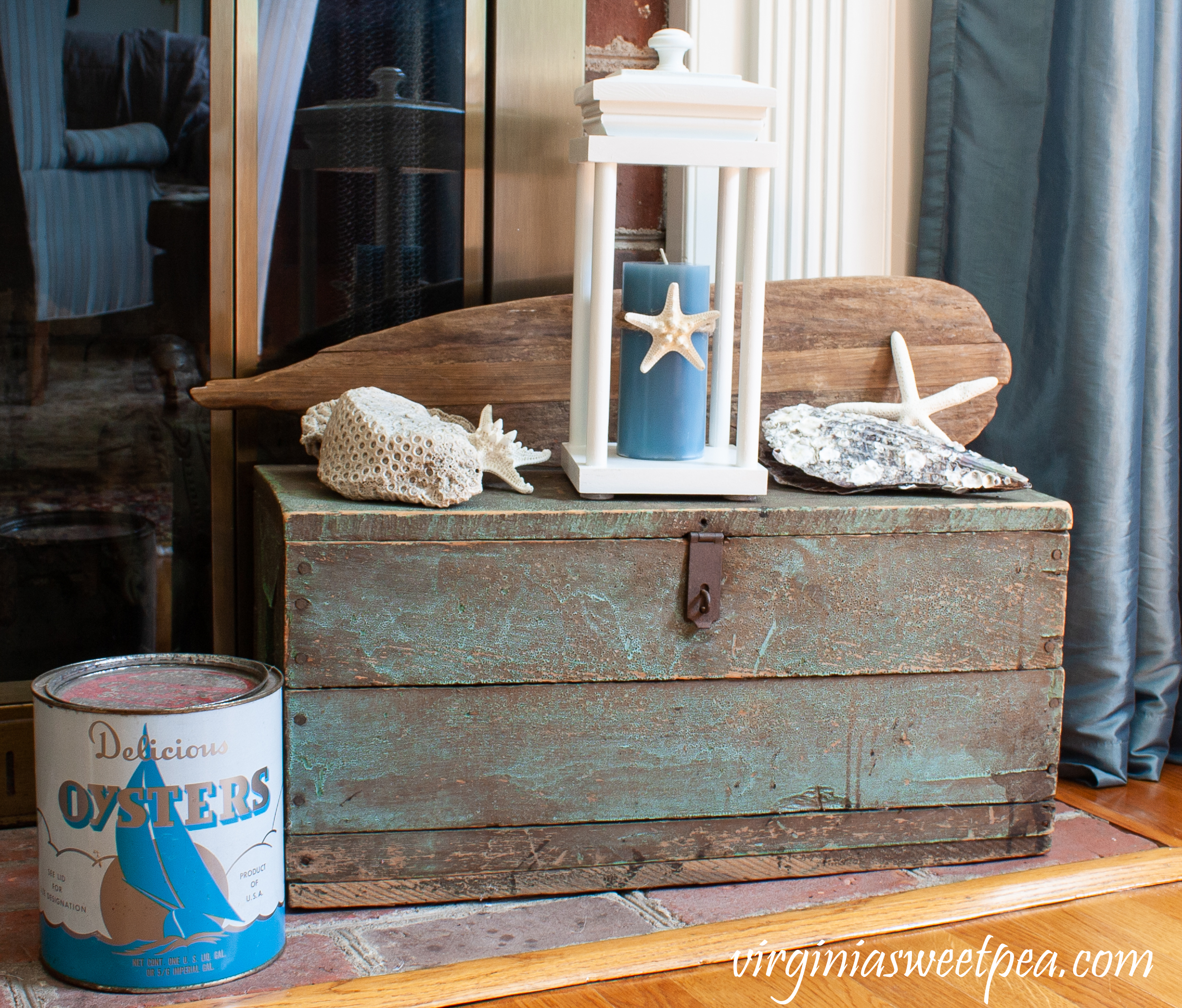 Use a lantern for summer coastal decor.