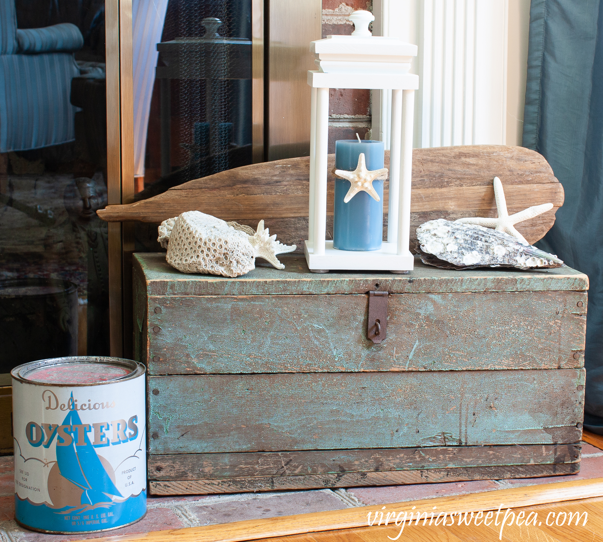 Vintage Toolbox decorated with a coastal style.