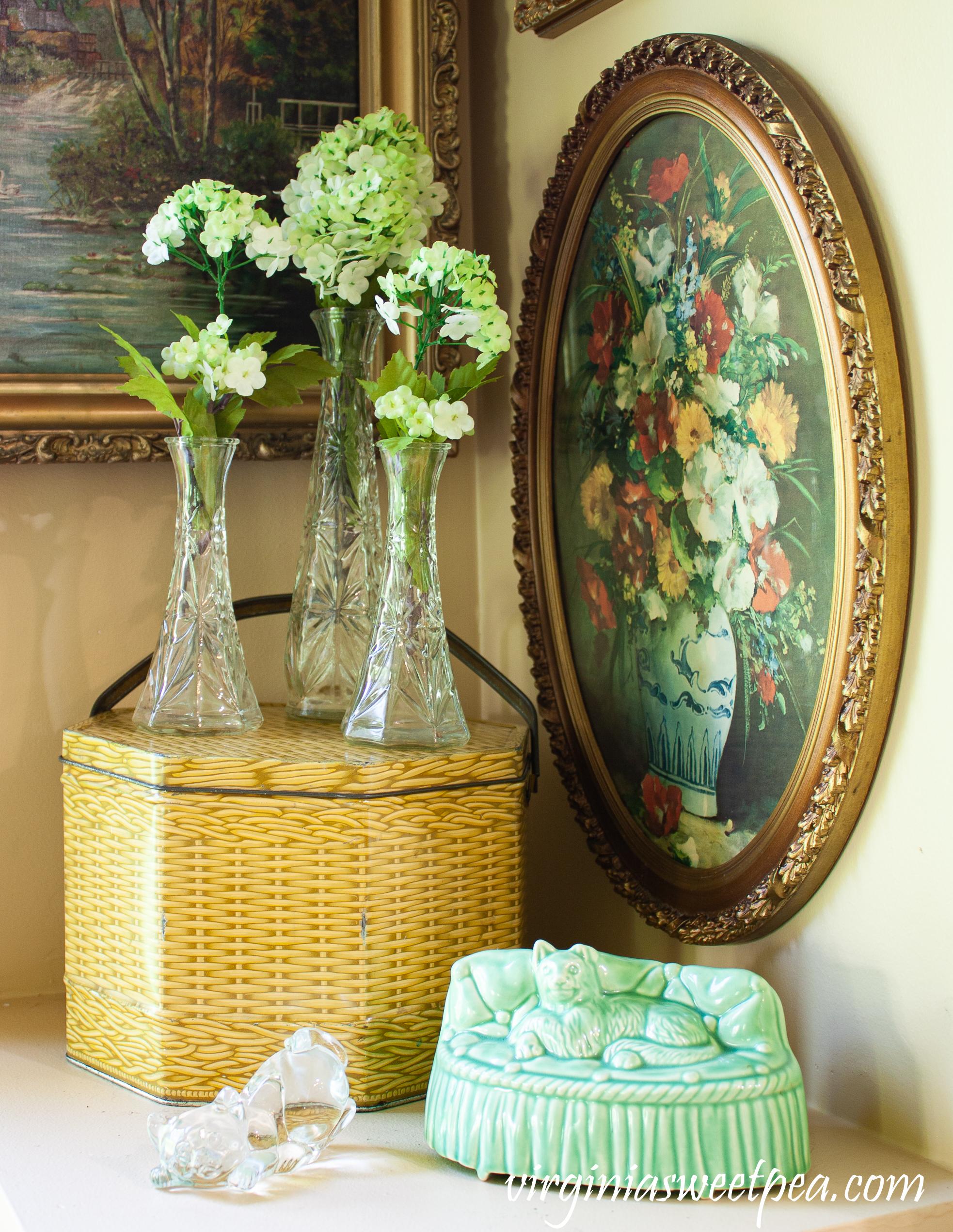 Vintage cat planter, glass cat, vintage basketweave pattern tin, flowers in vintage glass vases