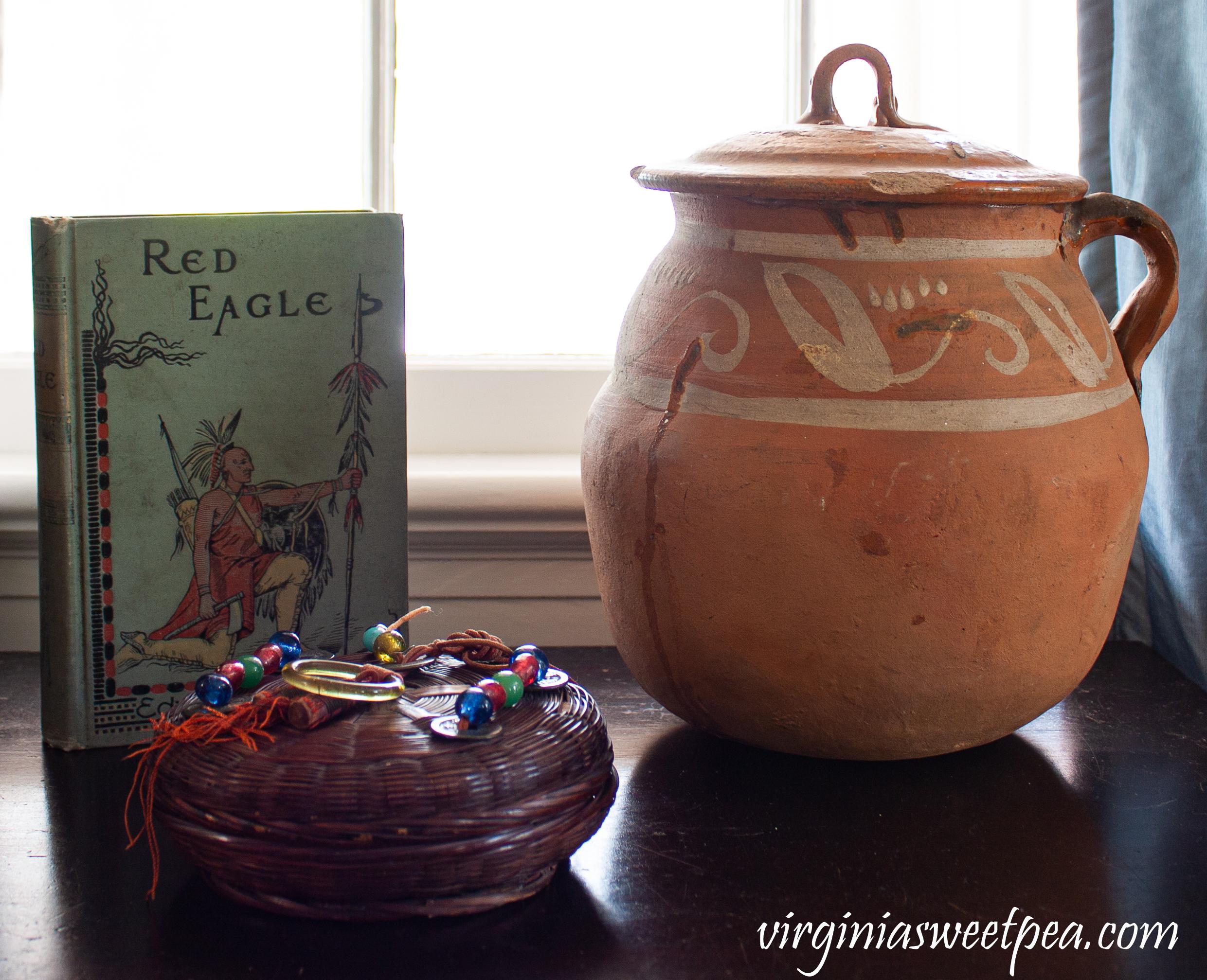 Vintage Mexican pot, 1901 Red Eagle Novel, 1922 Indian basket