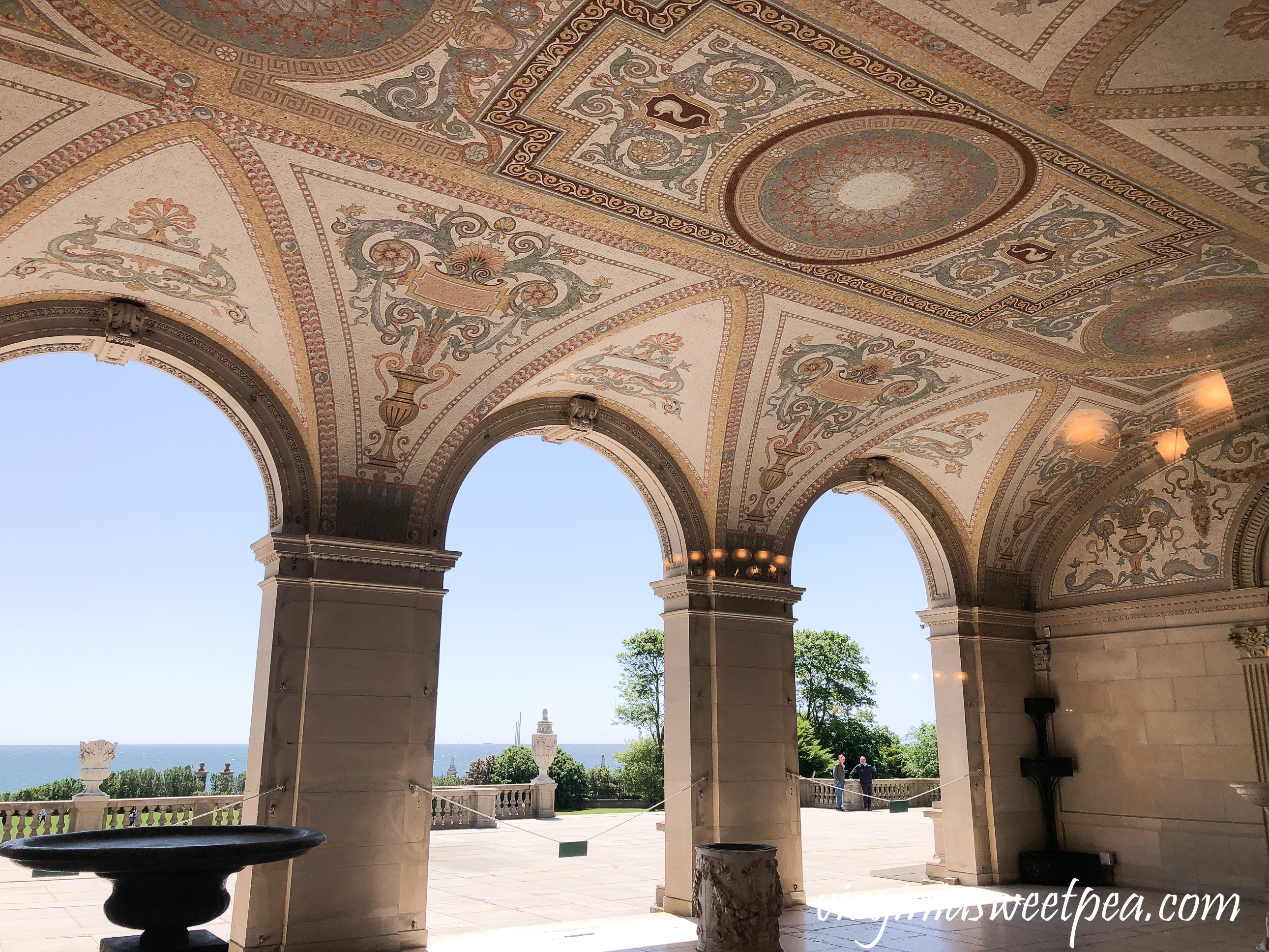 Lower loggia of The Breakers in Newport, RI