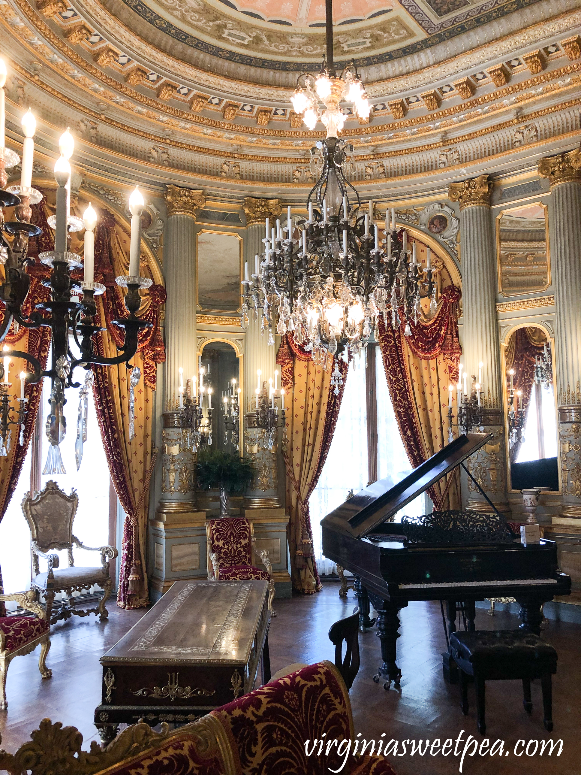 The music room in The Breakers in Newport, RI