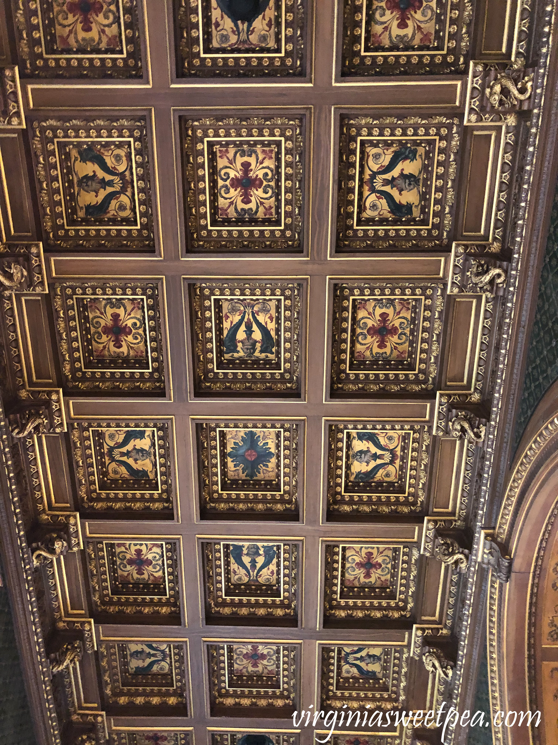 The ceiling in the library in The Breakers in Newport, RI