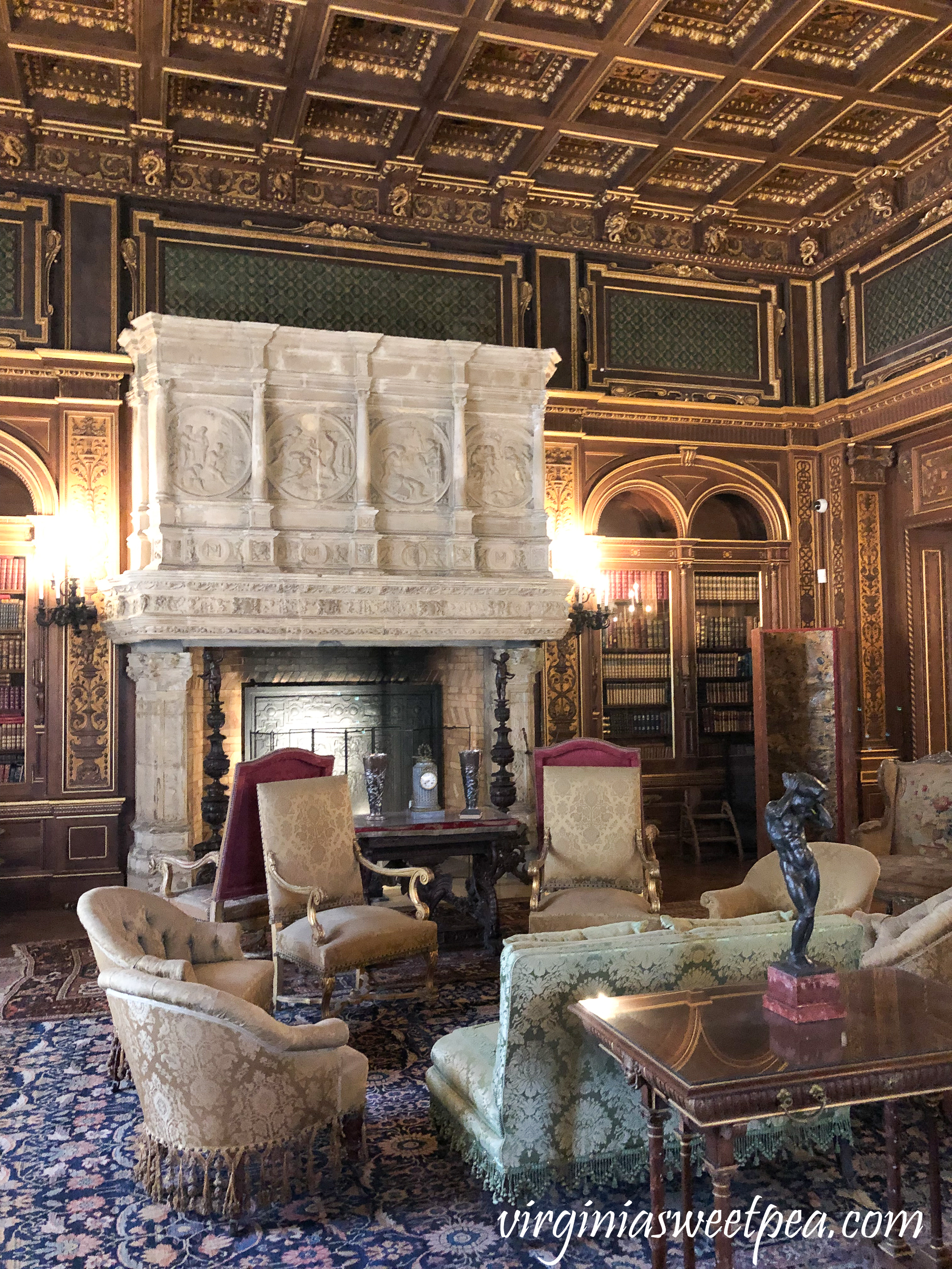 The library in The Breakers in Newport, RI