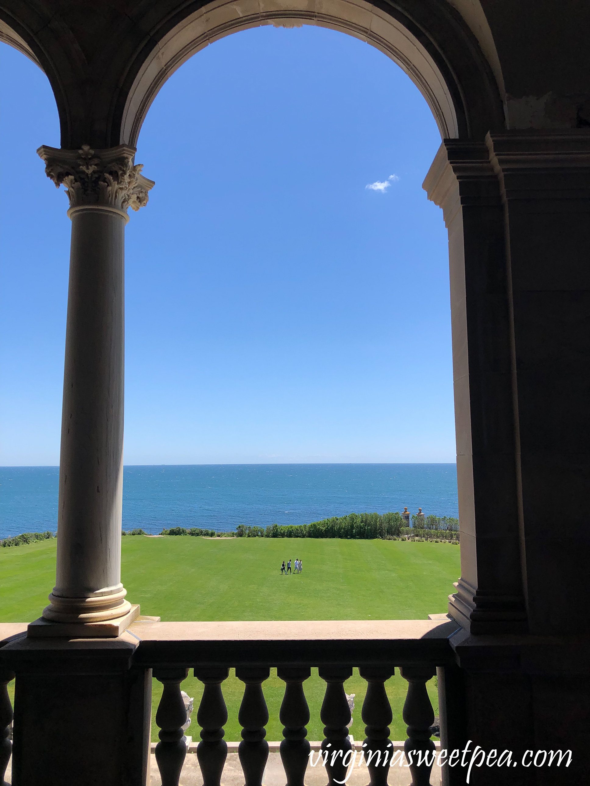 View of the ocean from the upper loggia at The Breakers in Newport, RI