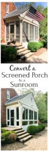 How to convert a screened porch to a sunroom. Before and after pictures as well as progress pictures.