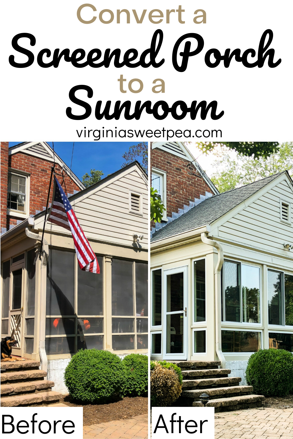Convert a Screened Porch to a Sunroom - A screened porch is great but a sunroom with windows that open and close turns the space into one that can be enjoyed year round. See before and after + progress pictures as a 1950's screened porch is converted into a sunroom. #sunroom #screenedporch #screenedporchtosunroom via @spaula