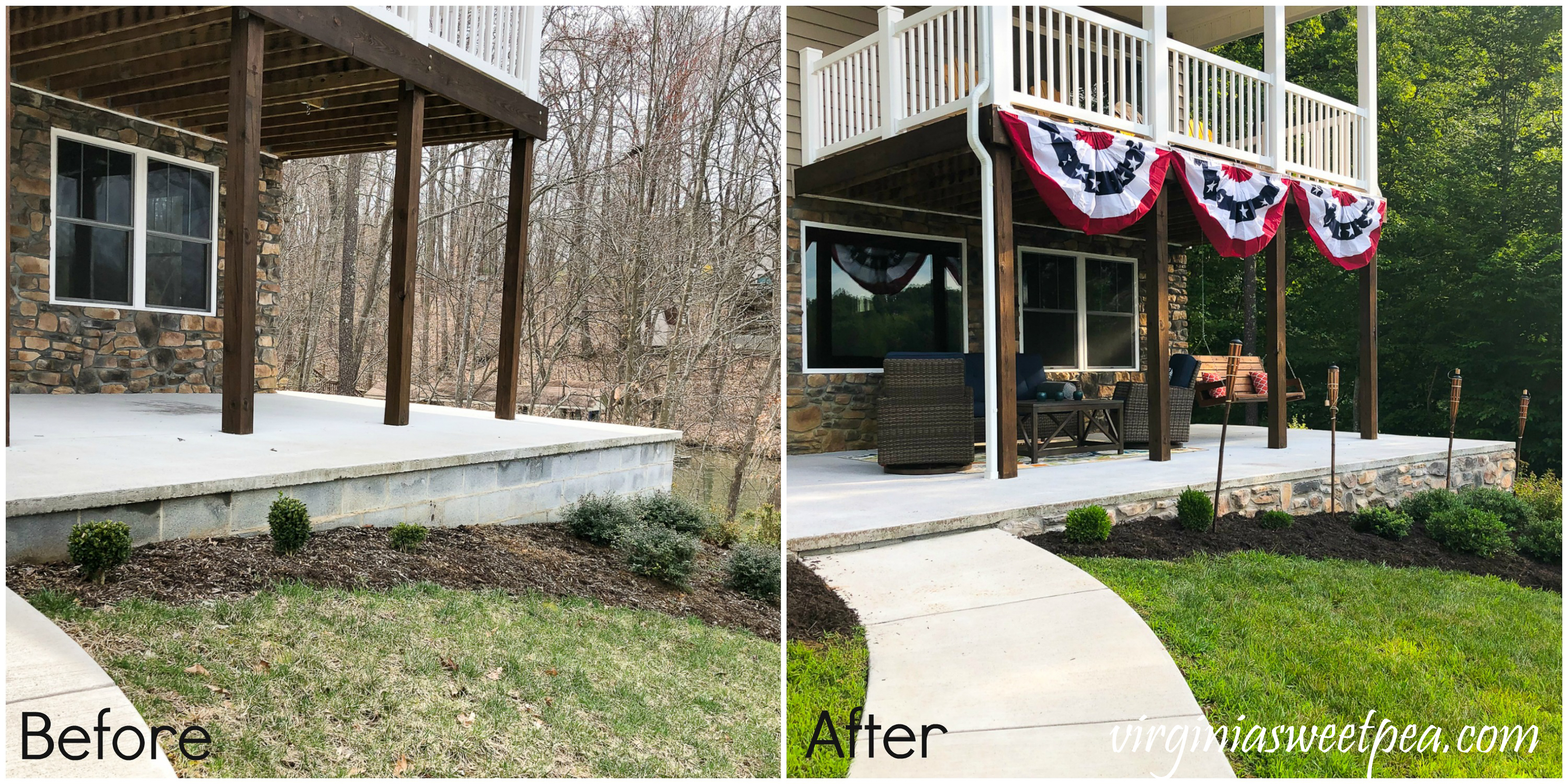 Before and After of a patio wall faced with stone veneer