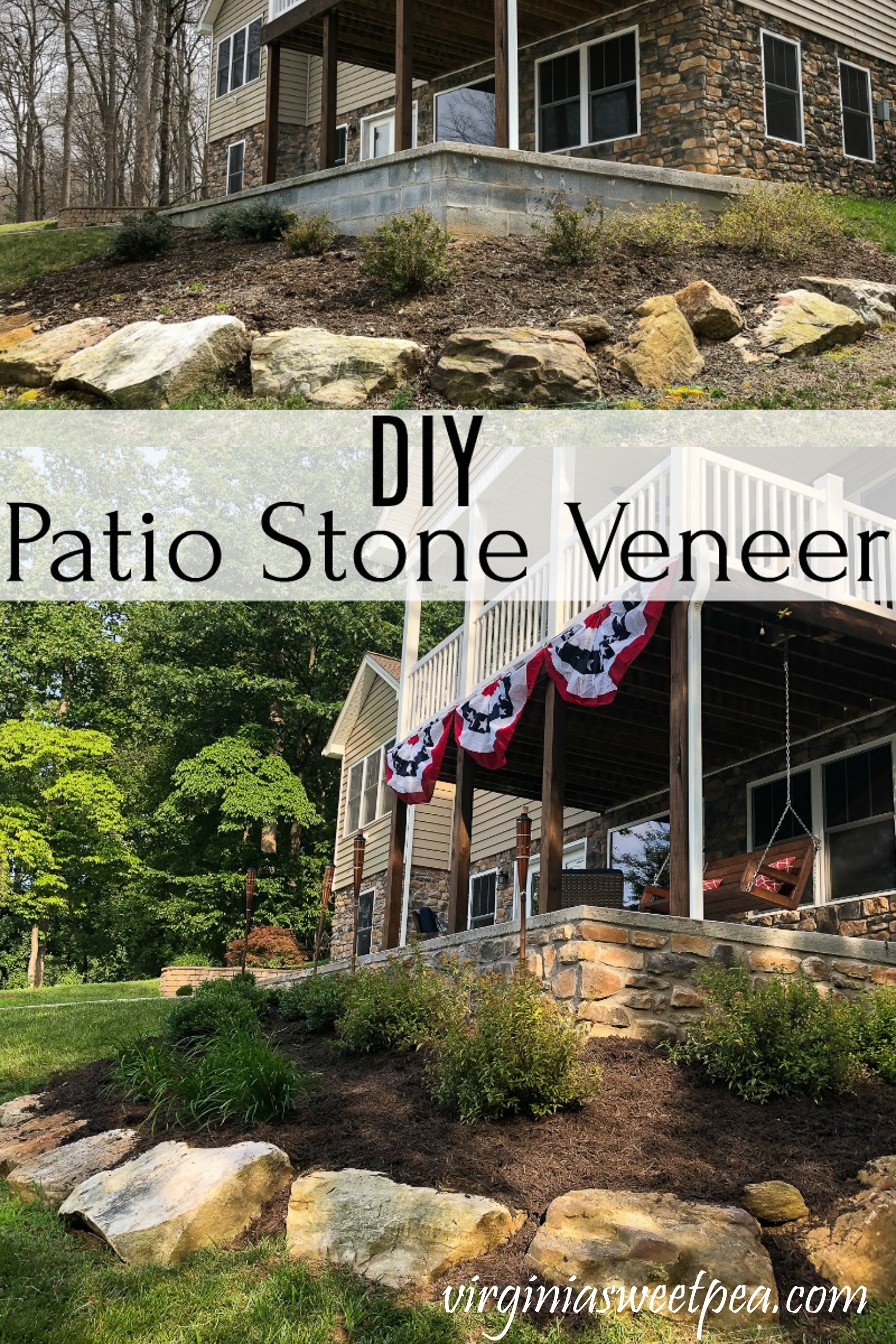 DIY Patio Stone Veneer - Give a patio a finished look with the addition of stone veneer. via @spaula