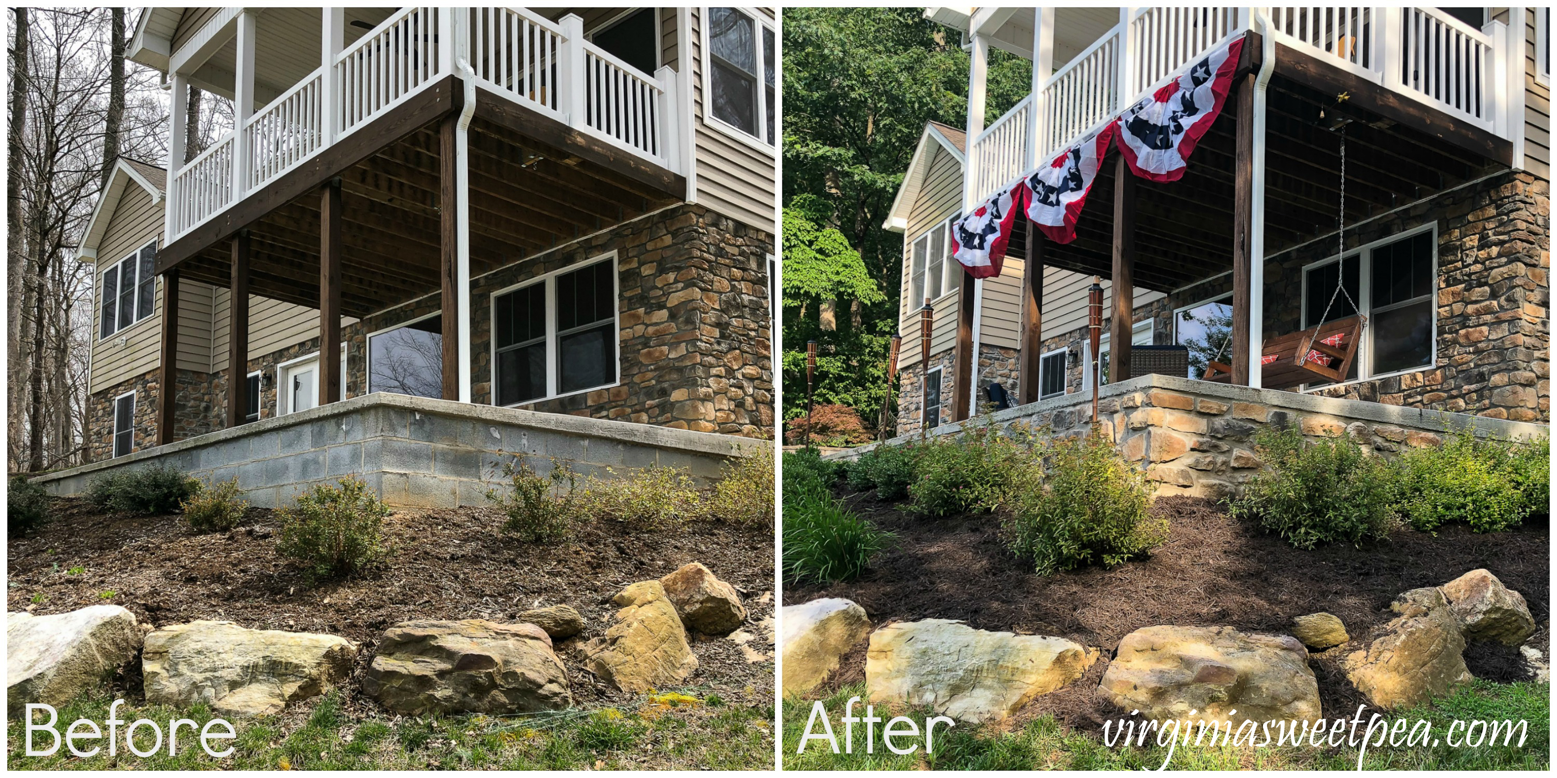 Before and After of adding stone veneer to a patio wall