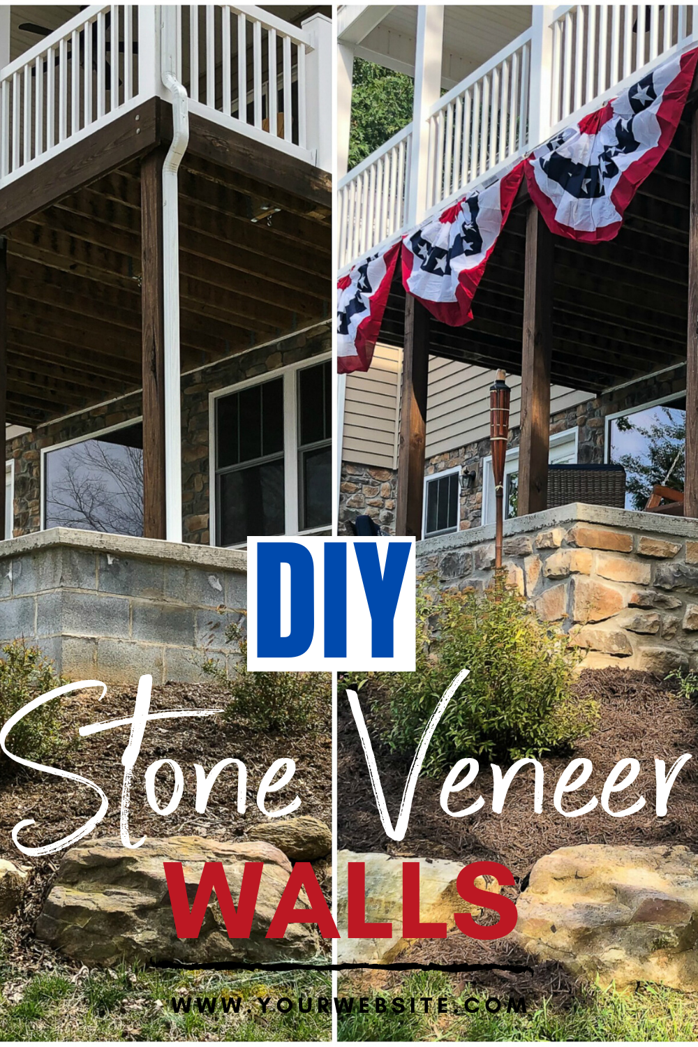 DIY Stone Veneer Walls - Up curb appeal by adding stone veneer to patio walls.  Learn how to DIY this project!  #stoneveneer #diystoneveneer via @spaula