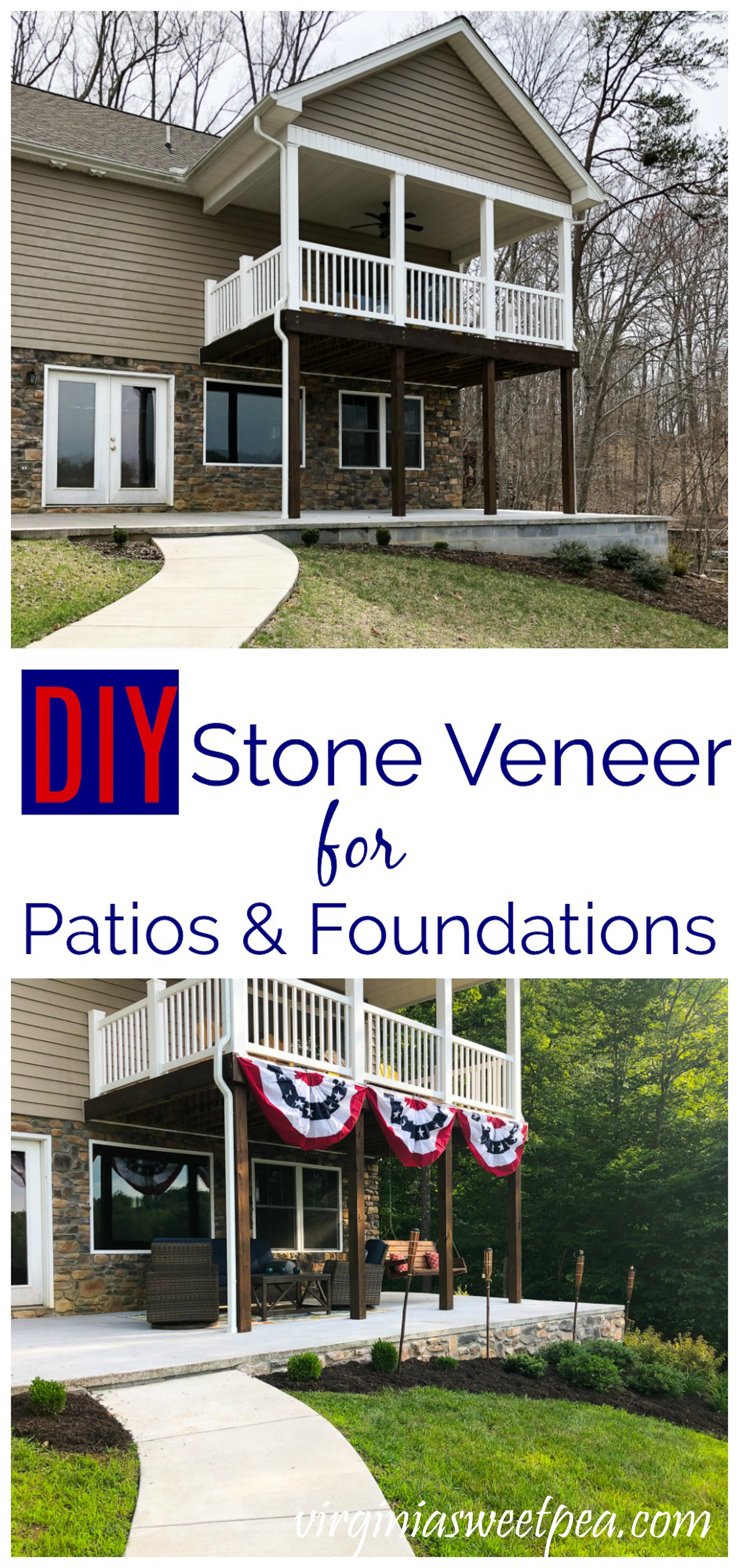DIY Stone Veneer for Patios and Foundations - Give your foundation and patio walls a finished look with the addition of stone veneer. #stoneveneer #diystoneveneer via @spaula