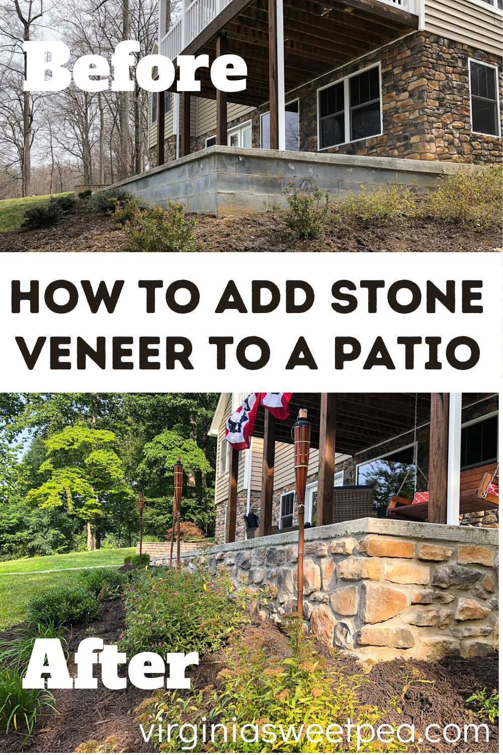 How to Add Stone Veneer to a Patio - Tired of looking at boring cinder block patio or house walls?  Learn how to add stone veneer to give the walls a finished look.  #stoneveneer #diystoneveneer via @spaula